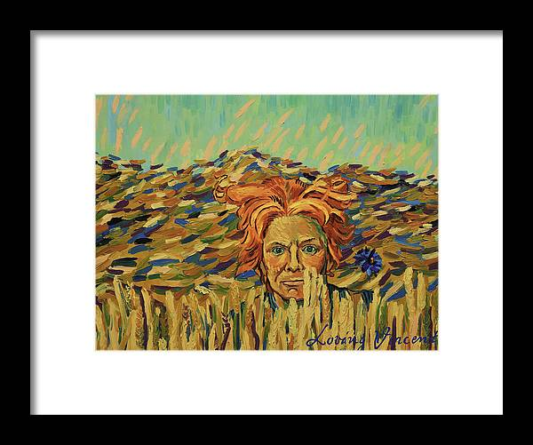Framed Print featuring the painting Young Man with a Corn Flower by Nikos Koniaris
