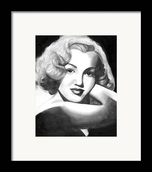 Portrait Framed Print featuring the drawing Young Marilyn by Scarlett Royal