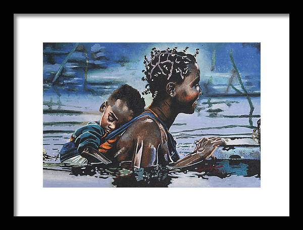 Black Art Framed Print featuring the painting Young Mother And Child by Andre Ajibade