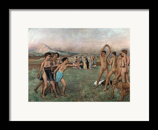 Young Spartans Exercising Framed Print featuring the painting Young Spartans Exercising by Edgar Degas