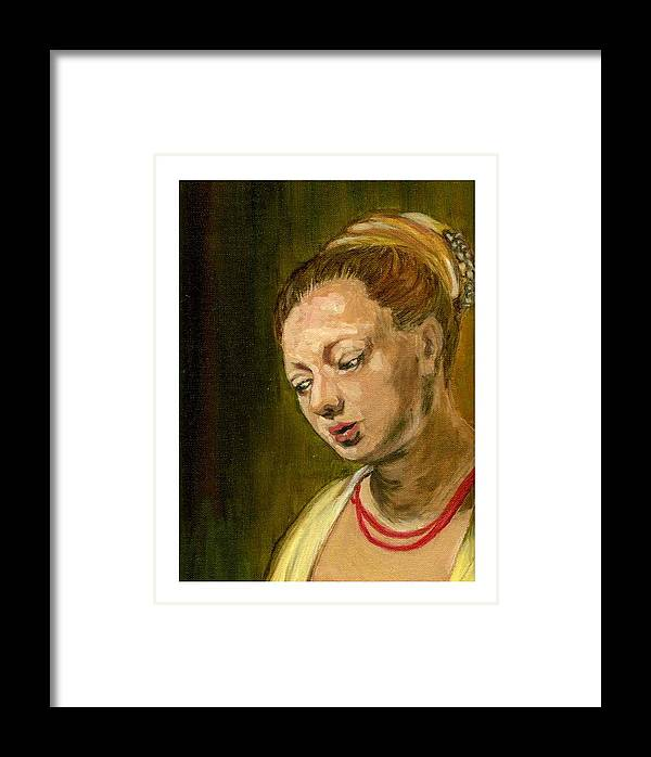 Rembrandt's Painting Framed Print featuring the painting Young Woman by Asha Sudhaker Shenoy