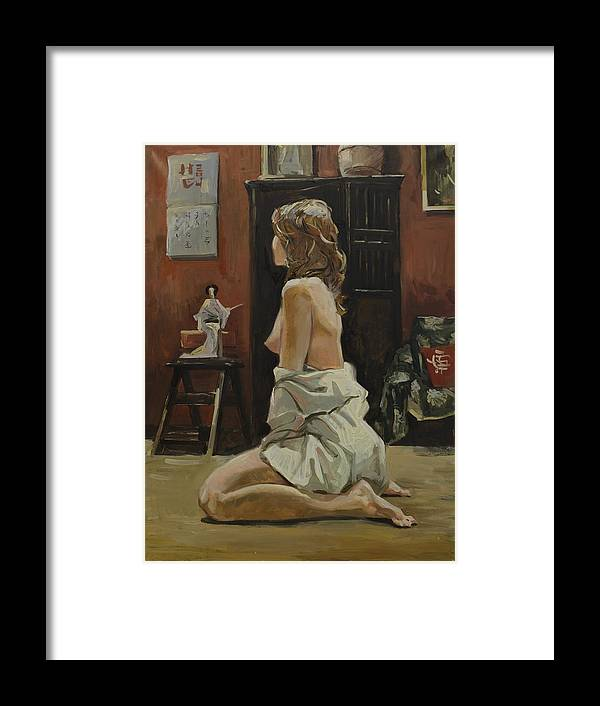 Russian Artists New Wave Framed Print featuring the painting Young Woman Dressed In Male Shirt by Igor Sakurov