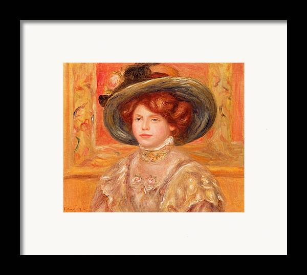Young Framed Print featuring the painting Young Woman In A Blue Hat by Pierre Auguste Renoir