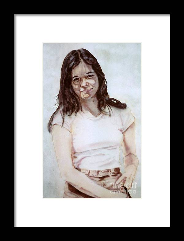 Portrait Framed Print featuring the painting Young Woman by Ron Bissett