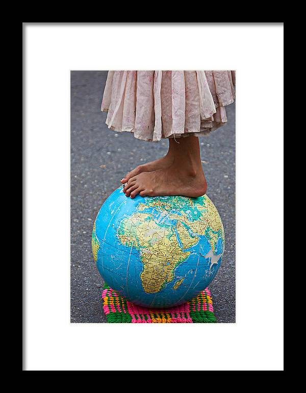 Foot Framed Print featuring the photograph Young Woman Standing On Globe by Garry Gay