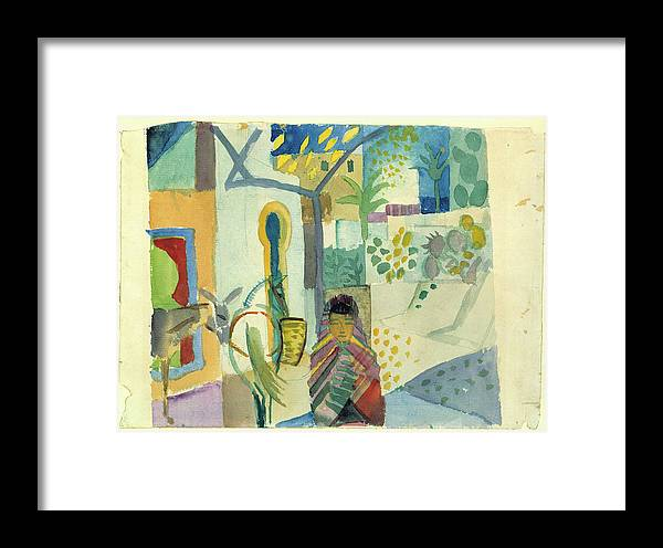 August Macke Framed Print featuring the painting Young Woman With A Horse And A Donkey by August Macke