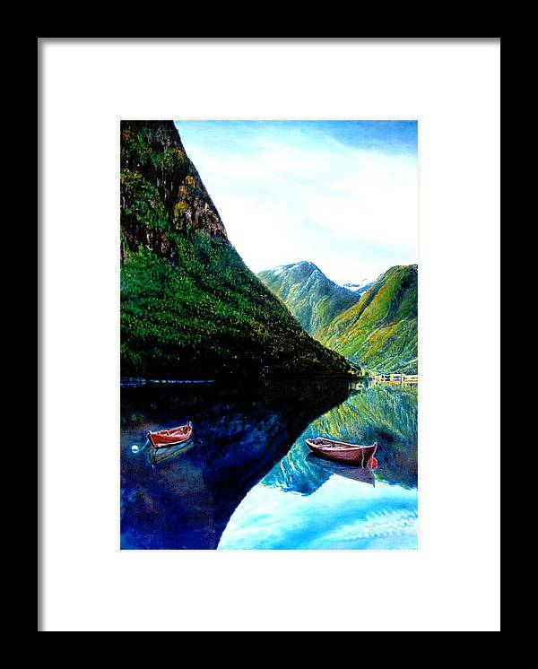 Mountain Framed Print featuring the painting Your Life Is An Island Separated From All Other Islands And Continents Regardless Of How Many Boat by Yuki Othsuka