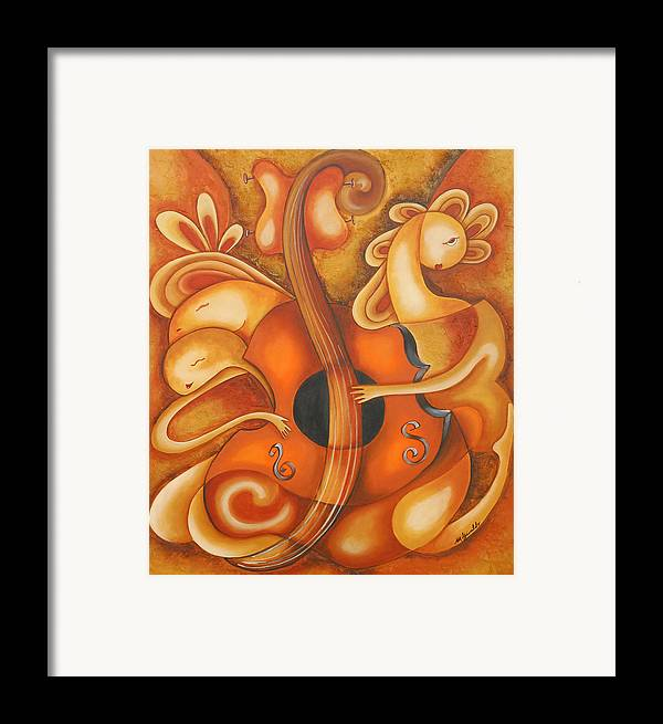 Abstract Expressionism Framed Print featuring the painting Your Music My Inspiration by Marta Giraldo