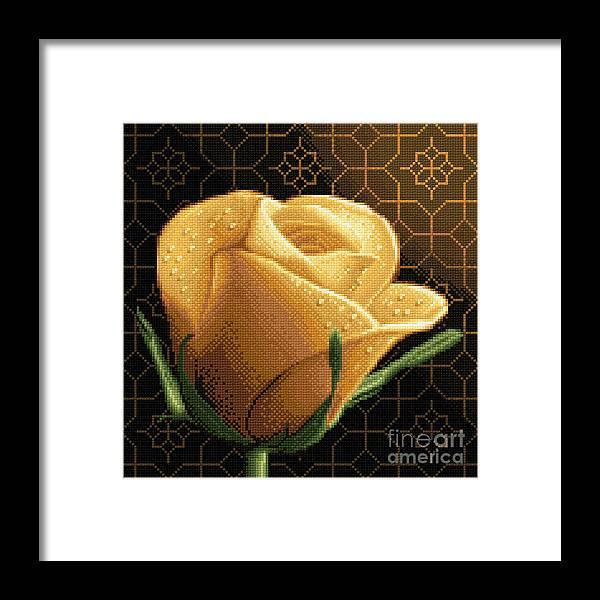 Yellow Rose Flower Needlework Design Cross Stitch Gobelin Framed Print featuring the tapestry - textile Your Rose by Stoyanka Ivanova