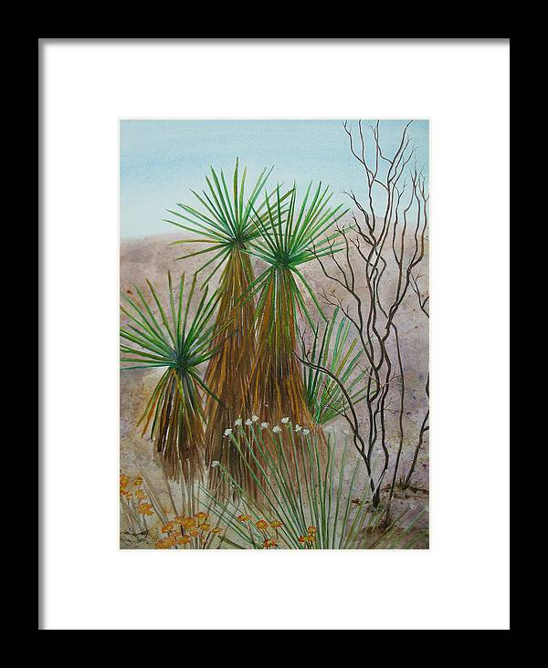 Nature Framed Print featuring the painting Yucca Stand by Myrna Salaun