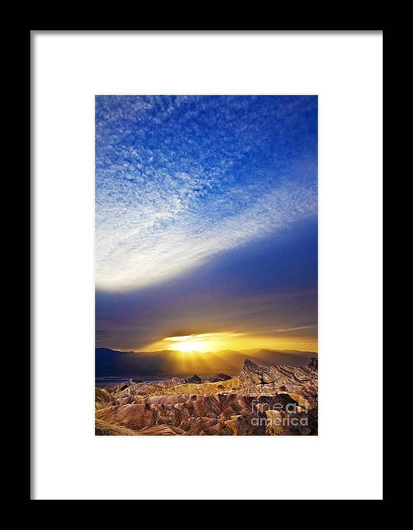 California Framed Print featuring the photograph Zabriskie Sunbeams by Greg Clure