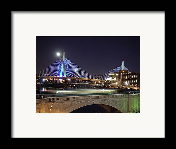 Night Framed Print featuring the photograph Zakim Bridge by Eric Workman