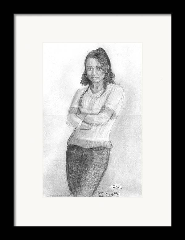 Framed Print featuring the drawing Zana by Katie Alfonsi