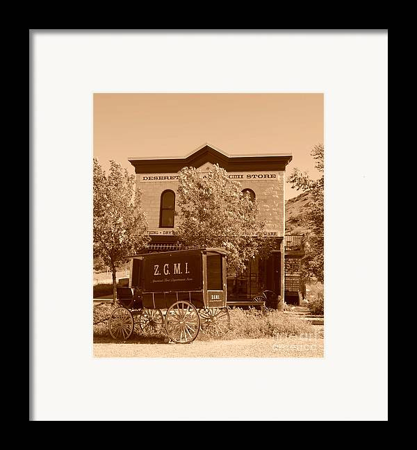 Sepia Framed Print featuring the photograph Zcmi Store And Delivery Wagon by Dennis Hammer