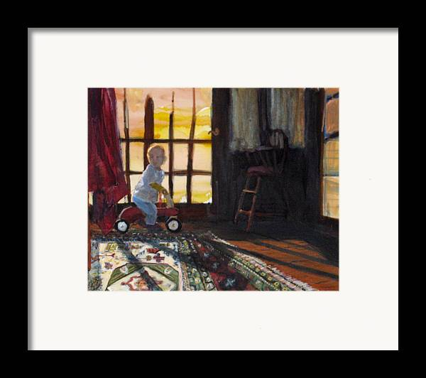 Oriental Rug Framed Print featuring the painting Zeb by Alicia Kroll