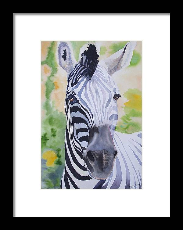 Zebra Framed Print featuring the painting Zebra Crossing by Ally Benbrook