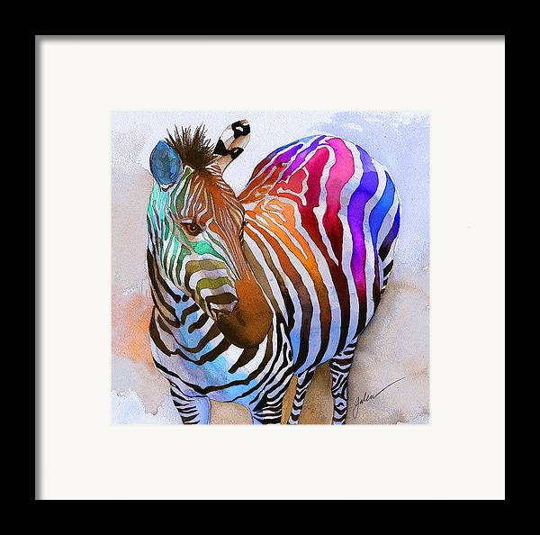 Colorful Framed Print featuring the painting Zebra Dreams by Galen Hazelhofer