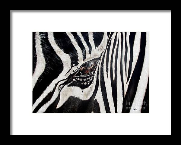 Zebra Framed Print featuring the painting Zebra Eye by Ilse Kleyn