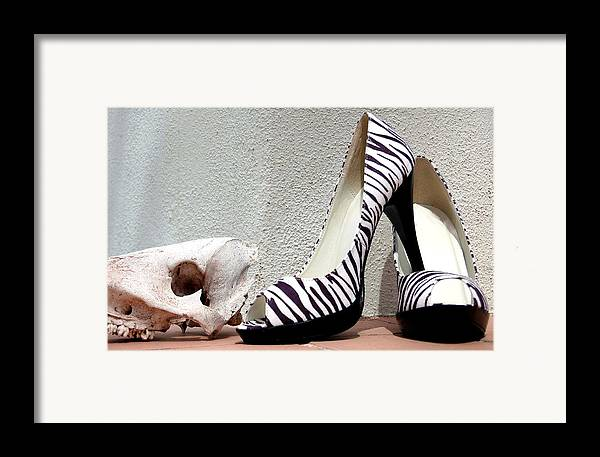 Shoes Framed Print featuring the photograph Zebra Heels And Skull by Heather S Huston