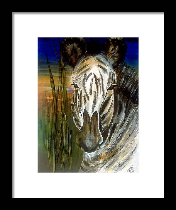 Animals Framed Print featuring the painting Zebra by Latonja Davis-Benson