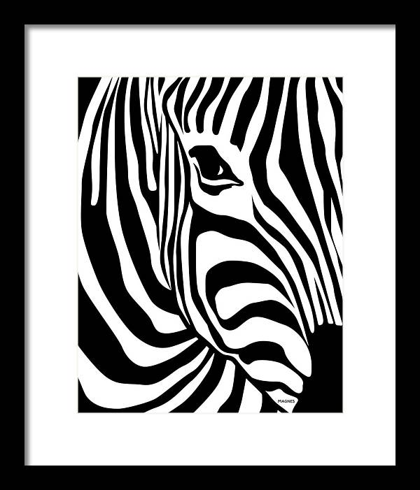 Zebra Framed Print featuring the digital art Zebra by Ron Magnes