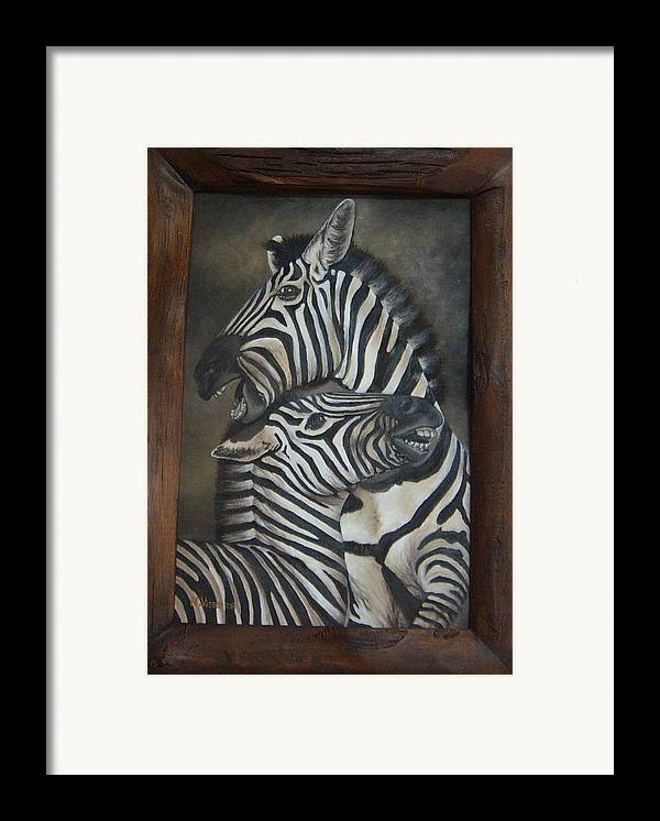 Zebras Framed Print featuring the painting Zebras by Nellie Visser