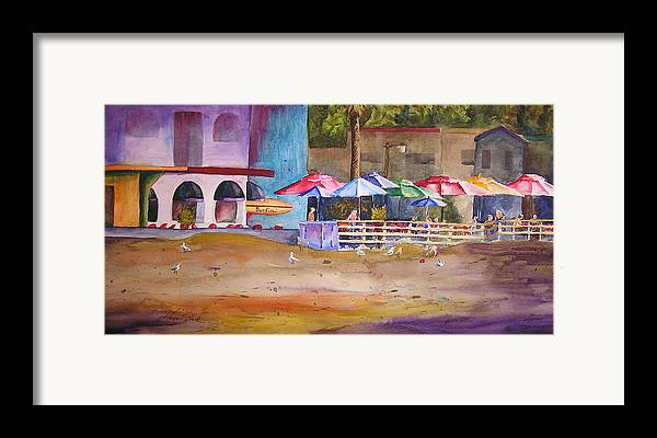 Umbrella Framed Print featuring the painting Zelda's Umbrellas by Karen Stark