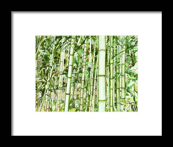 Zen Bamboo Forest Framed Print featuring the painting Zen Bamboo Forest by Jeelan Clark