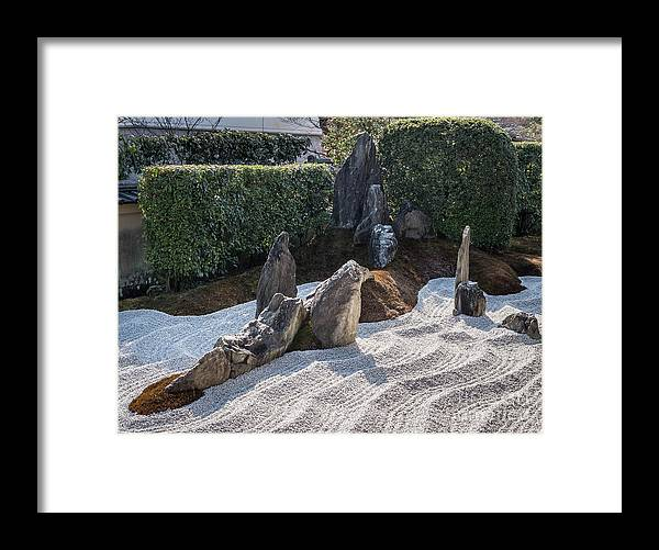 Zen Framed Print featuring the photograph Zen Garden, Kyoto Japan 2 by Perry Rodriguez
