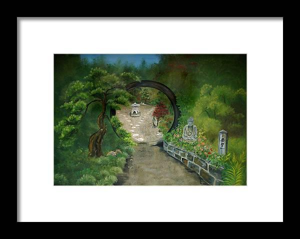 Zen Framed Print featuring the painting Zen Garden by Sundara Fawn