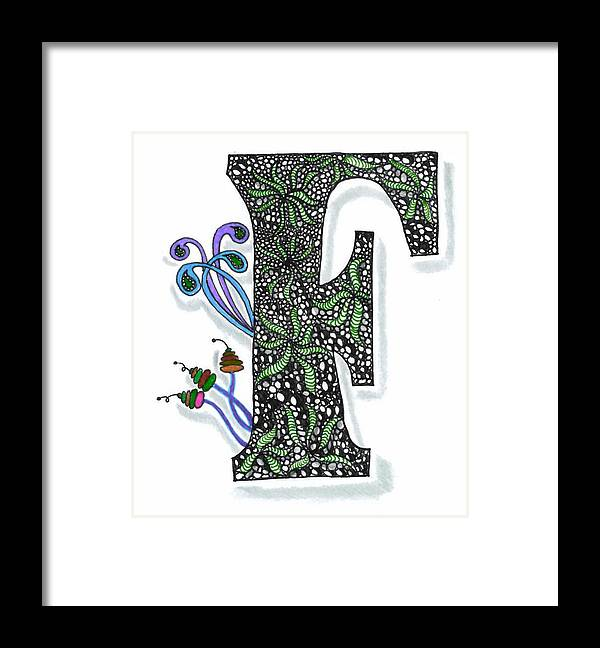 Zentangle Framed Print featuring the drawing Zentangle Inspired F #3 by Eric Strickland