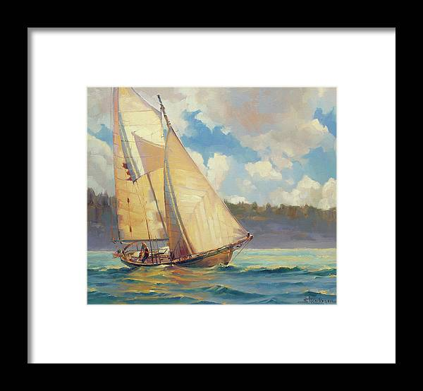Sailboat Framed Print featuring the painting Zephyr by Steve Henderson