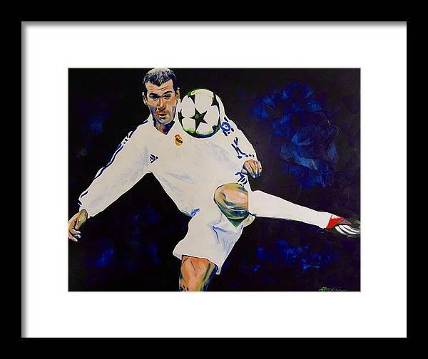 f811f84a7 Zinedine Zidane Framed Print featuring the painting Zinedine Zidane  Painting by Scott Strachan