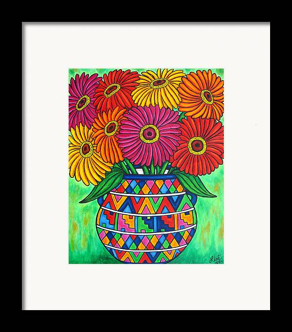 Zinnia Framed Print featuring the painting Zinnia Fiesta by Lisa Lorenz