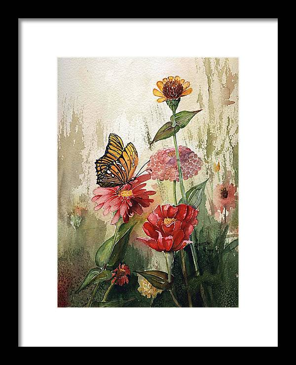 Flowers Framed Print featuring the painting Zinnias And Monarch by Jimmie Trotter