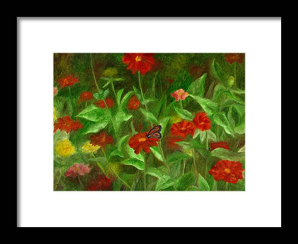 Butterfly Framed Print featuring the painting Zinnias by FT McKinstry