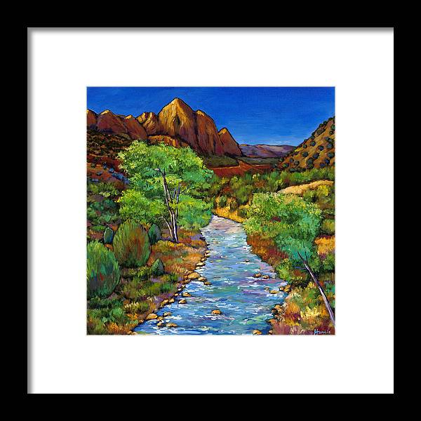 National Parks Framed Print featuring the painting Zion by Johnathan Harris