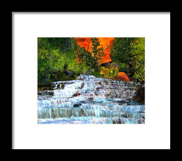 Waterfalls - Utah National Park - Landscape Framed Print featuring the painting Zion National Park Utah by Colleen DalCanton