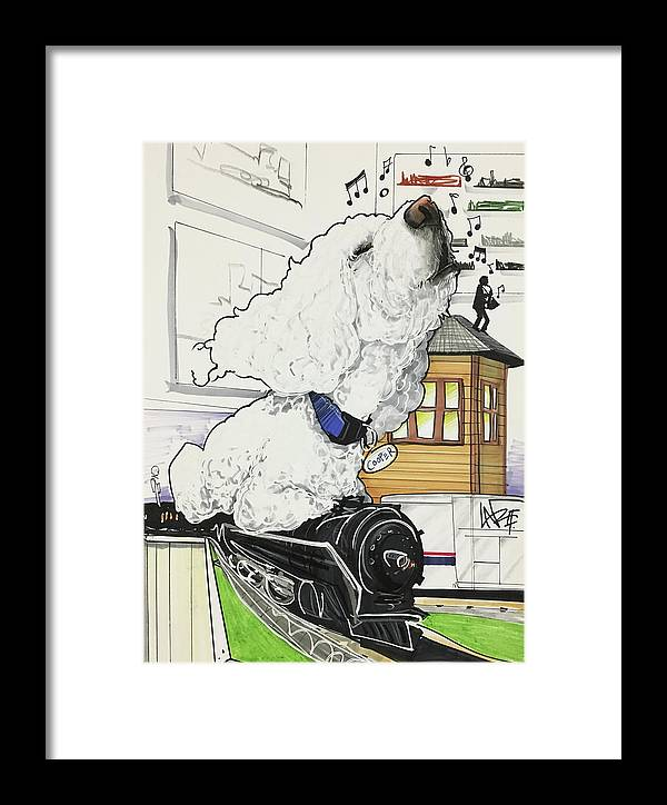 Pet Portrait Framed Print featuring the drawing Zito 7-1460 by John LaFree