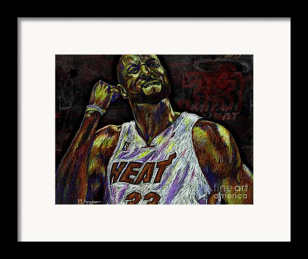 Alonzo Mourning Framed Print featuring the drawing Zo by Maria Arango
