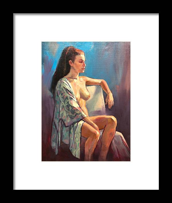 Female Nudes Framed Print featuring the painting Zoe's Kimono by Roz McQuillan