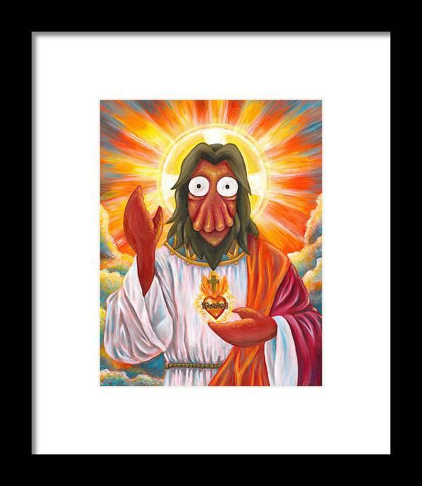 zoidberg jesus framed print by katie clark