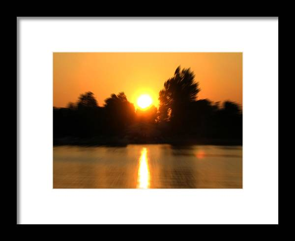 Sunset Framed Print featuring the photograph Zoomed Sunset - Alexandria Bay by Steve Ohlsen
