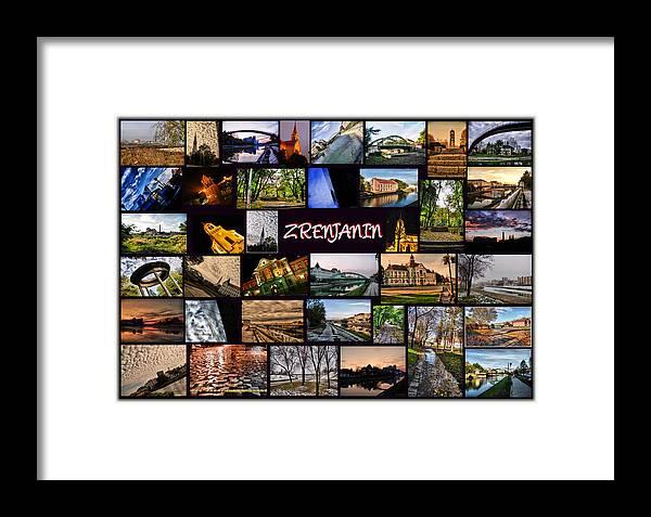 Zrenjanin Framed Print featuring the pyrography Zrenjanin Collage by Janos Kovac