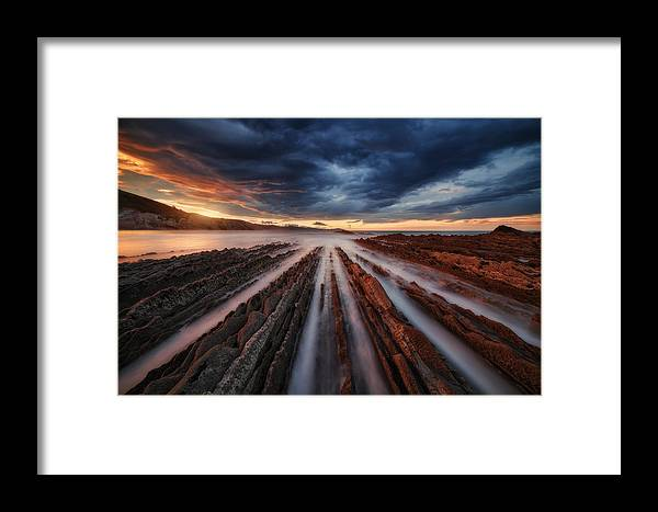 Landscape Framed Print featuring the photograph Zumaia Flysch 6 by Juan Pablo De