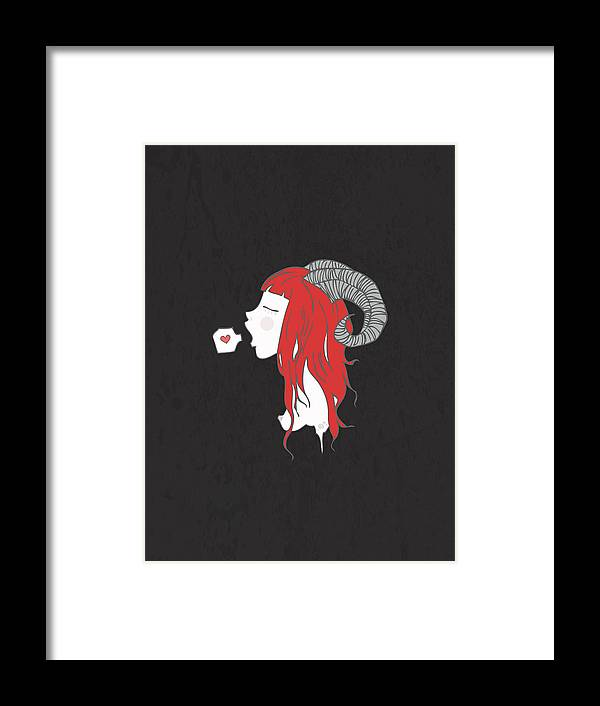 Horned Framed Print featuring the digital art Aries by Meri S C