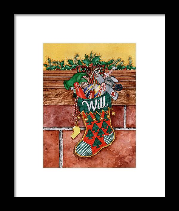 Toys In A Christmas Stocking Framed Print featuring the painting 000b by Wendy Edelson