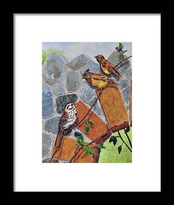005 Song Sparrow And Cedar Waxwings Framed Print featuring the painting 005 Song Sparrow And Cedar Waxwings by Charlsie Kelly
