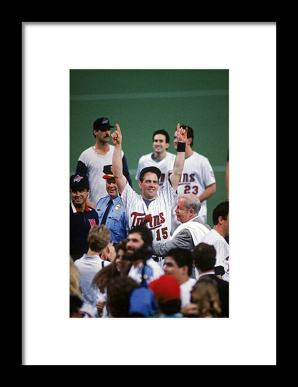 Hubert H. Humphrey Metrodome Framed Print featuring the photograph 1987 World Series St. Louis Cardinals by Mlb Photos