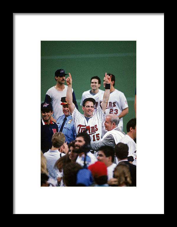 Hubert H. Humphrey Metrodome Framed Print featuring the photograph 1987 World Series St. Louis Cardinals 1 by Mlb Photos